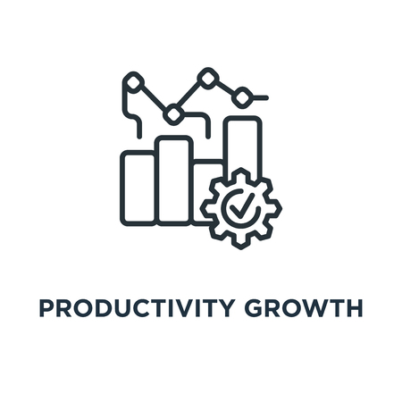 productivity growth icon. linear concept symbol design, vector illustration