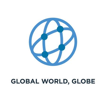global world, globe icon. earth planet concept symbol design, vector illustration