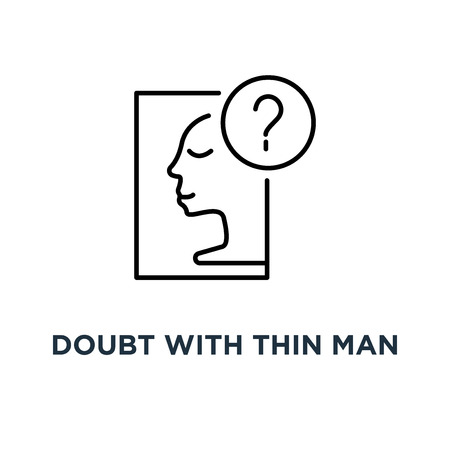 doubt with thin man icon, symbol of choice opportunity or decision by intuition concept stroke style trend modern simple person imagine logotype graphic art round design