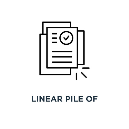 linear pile of license or contract documents icon, symbol contour trend modern research art graphic design concept of doc checkup with approve seal or correct pact Ilustração