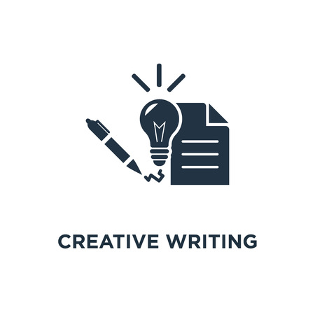 creative writing and storytelling icon. learning course concept symbol design, education assignment, brief summary, thin stroke vector illustration