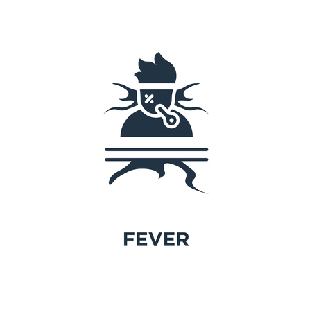 fever icon. high temperature thermometer, feeling ill, hot head, immunity resistance concept symbol design, sick sweating person, catch a cold, flue virus, influenza symptoms vector illustration