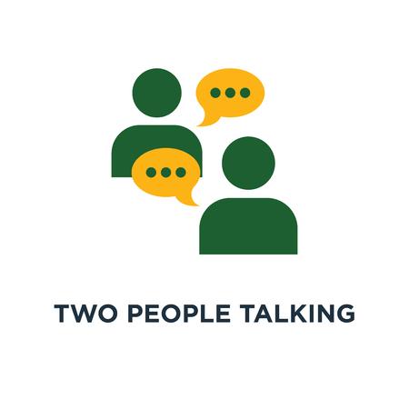 deux personnes qui parlent icône. discuter d & # 39; un projet de conception de symbole de concept, de communication et de négociation, de travail d & # 39; équipe, de collègues faisant valoir illustration vectorielle