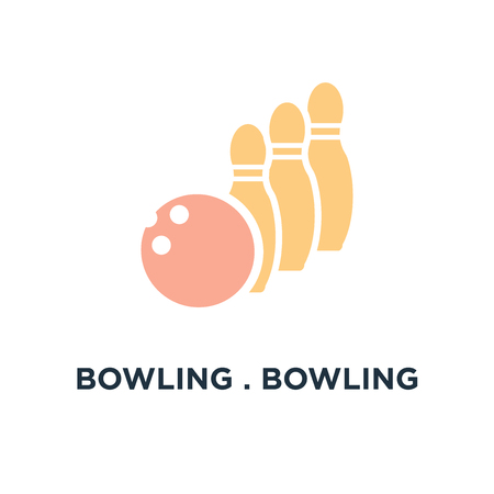 bowling . bowling ball icon. bowling game, sport concept symbol design, vector illustration Illustration