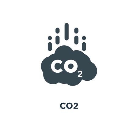 co2 icon. carbon emissions reduction concept symbol design, vector illustration