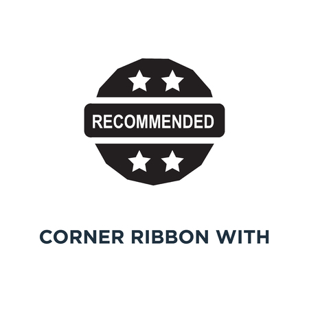 Red corner ribbon with recommended text icon. Simple element illustration. Red corner ribbon with recommended text concept symbol design, vector logo illustration. Can be used for web and mobile. Banque d'images - 108989178