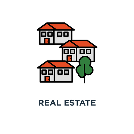real estate icon. residential district concept symbol design, apartment building, neighborhood, group of houses vector illustration Stockfoto - 108989063