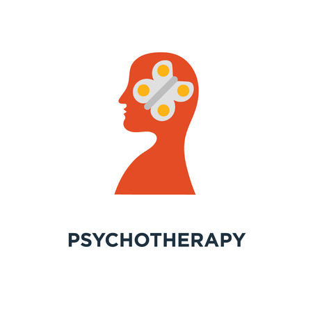 psychotherapy icon. mental wellbeing, meditation practice, control feelings, creative personality concept symbol design, self awareness and mindfulness, feeling empathy, social issues, brain problems