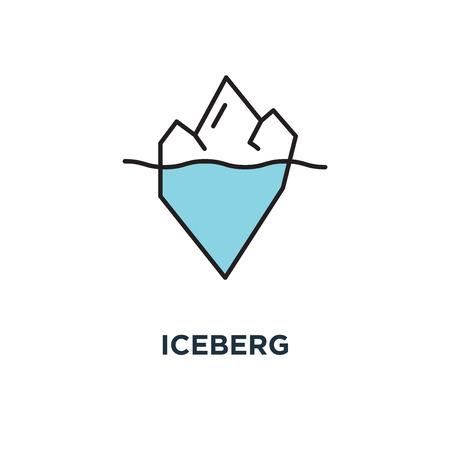 Eisbergikone, Symbol für versteckte Probleme, polygonaler Eisberg unter und über Wasser als geschäftliches oder persönliches Problem ,, Konzept