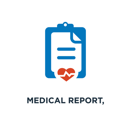 medical report, patient health record icon. medicine prescription, healthcare note concept symbol design, vector illustration Stockfoto - 108989037
