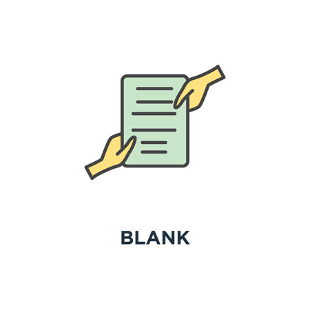 blank icon. document with stamp that is held by two people hands at a time, transfer of rights, compliance, convention or deal, outline, concept symbol design, agreement, contract, open access,