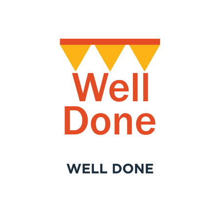 well done icon. congratulations phrase concept symbol design, encouragement and motivation message, successful accomplishment, best performance vector illustration
