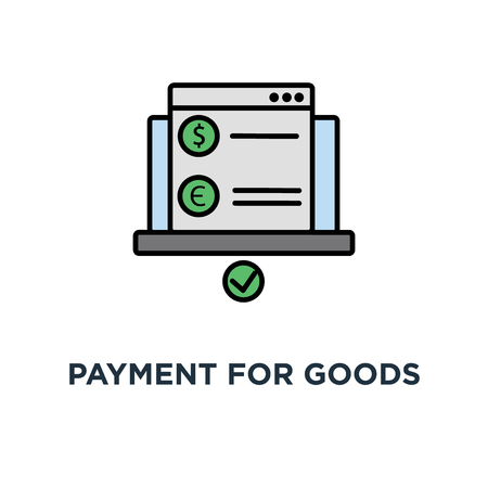 payment for goods or services via the internet from a laptop icon. computer, payment, banking, pay tax online receipt, outline modern, concept symbol design, bill, invoice, purchase, check vector