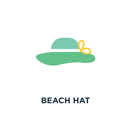 beach hat icon. sun hat on white isolate background concept symbol design, vector illustration