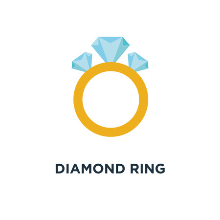 diamond ring icon. wedding or engagement, diamond ring concept symbol design, vector illustration