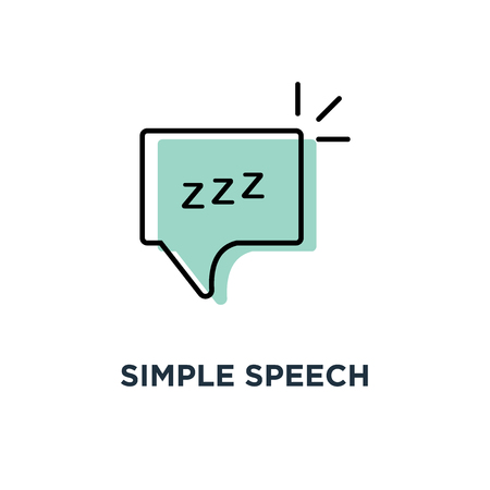 simple speech bubble with linear zzz icon, symbol of funny snoring for web and napping concept stroke style trend modern logotype graphic thin art design on blue background Illustration