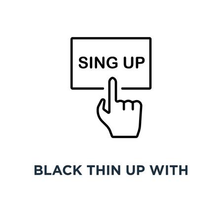 noir mince avec l'icône de la main, symbole lineart style tendance logo moderne concept de conception d'art graphique d'inscription sur la page d'accueil ou la page personnelle et souscrire l'adhésion Logo