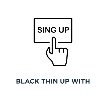 black thin up with hand icon, symbol lineart style trend modern logotype graphic art design concept of signup on homepage or personal page and subscribe membership