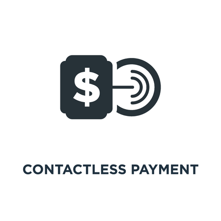 contactless payment with card icon. tap to pay sign concept symbol design, vector illustration