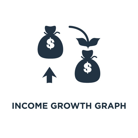 income growth graph icon. return on investment chart, money bag income, pension saving account, business and finance concept symbol design, budget fund plan, revenue increase, accounting report, ascending chart vector illustration Vectores