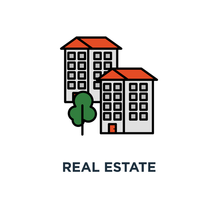 real estate icon. residential district concept symbol design, apartment building, neighborhood, group of houses vector illustration Stock Illustratie