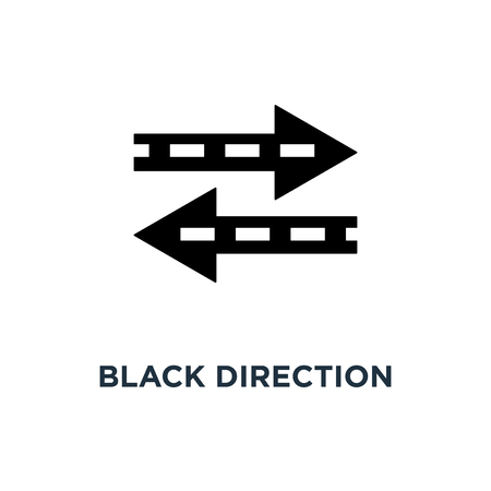 black direction arrow like transfer icon, symbol of info fast transference for website and abstract traffic badge concept simple trend modern linear logotype graphic art design