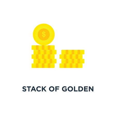 stack of golden coin like income graph icon, symbol of monetary collection or strategy of profit or benefit making in business concept cartoon style trend modern simple graphic design on white