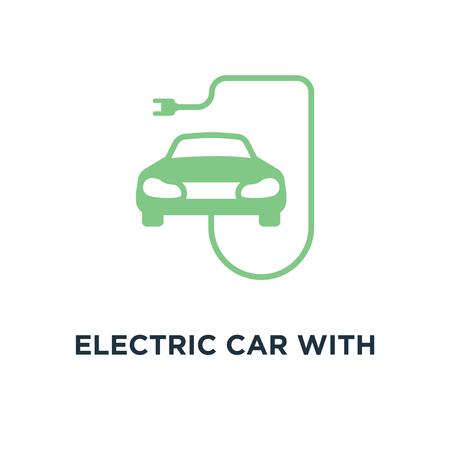 electric car with plug icon. ev concept symbol design, linear vector illustration Vector Illustration