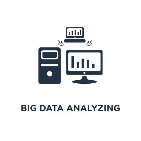 Big-Data-Analyse-Symbol. Informationssammlungs- und -verarbeitungskonzeptsymbolentwurf, Berichtsgraph, Datenserver, Vektorillustration der Geschäftstechnologie Vektorgrafik