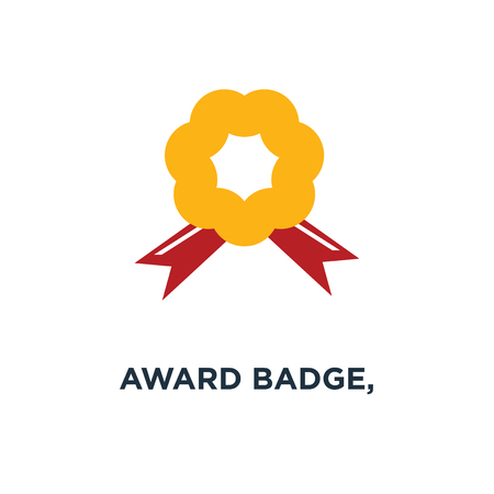 award badge, certificate icon, certification seal, quality guarantee, warranty ribbon stamp