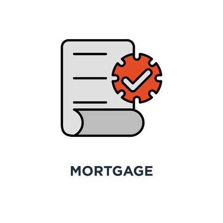 mortgage application form icon. rental house contract creation concept symbol design, document terms and conditions, loan approval checklist, home ownership, thin stroke vector illustration