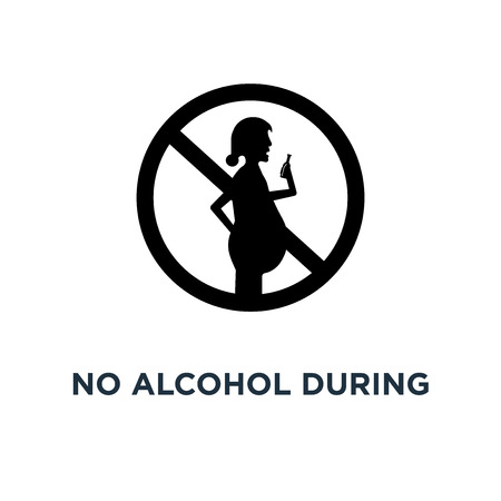 No alcohol during pregnancy period icon. Simple element illustration. No alcohol during pregnancy period concept symbol design, vector logo illustration. Can be used for web and mobile.