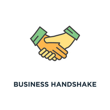 business handshake or shaking hands, contract agreement icon. good deal, trust or approval, outline, concept symbol design, consent, partnership, harmony, team vector illustration Ilustração