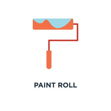 paint roll icon. paint brush concept symbol design, wall painter, paint roller vector illustration