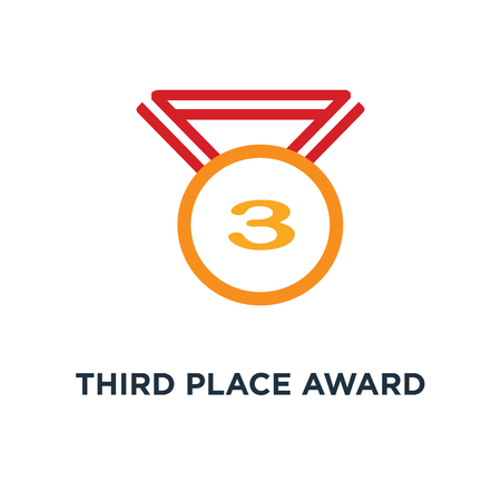 third place award icon. prize for winner concept symbol design, vector illustration