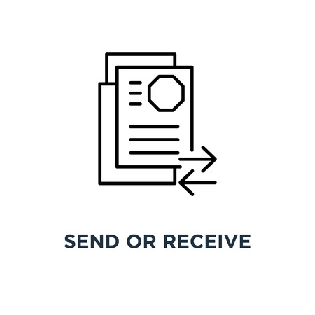 send or receive thin document, stroke modern logotype graphic art design on white, of update icon, symbol transmission or review doc like paperwork and synchronization of information concept