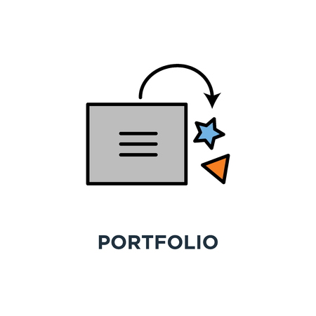 portfolio icon. gallery, drop in smiley cartoon box, folder, outline, concept symbol design, save interesting useful materials, bookmarks, creatives, share with creativity, put funny cubes vector
