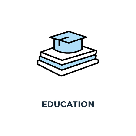 education icon, graduation university cap, university or college, outline,, academic university hat on the pile of books, education Stock Illustratie