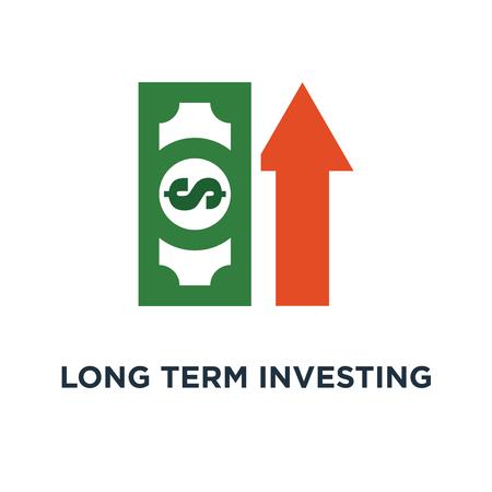 Lange termijn investeringsstrategie pictogram. inkomensgroei, financieel verbeteringsrapport, meer geld, symboolontwerp met hoge rente, hogere bedrijfsinkomsten, investeringsrendement, fondsenwerving, pensioenspaarrekening vectorillustratie Stockfoto - 109719657