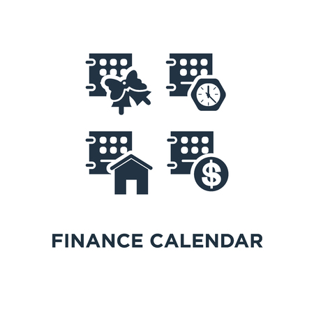 finance calendar icon. time period concept symbol design, monthly payment, mortgage loan, real estate, bell reminder vector illustration Illustration