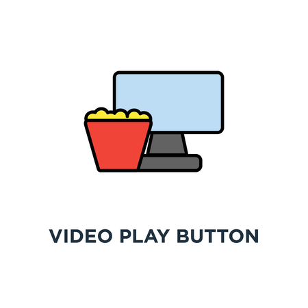video play button icon. watch film concept symbol design, movie on the laptop display with the popcorn bucket, home cinema, leisure, outline, vector illustration