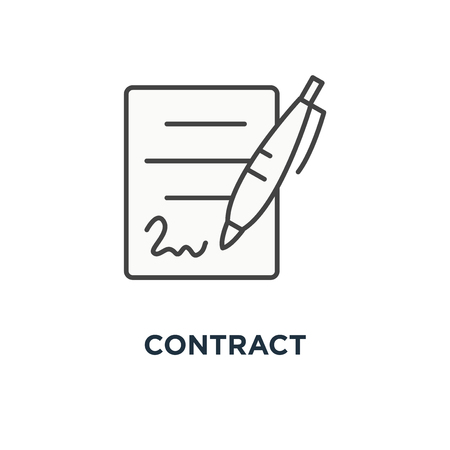 contract icon. document signing, paper documents pile with signature and pen concept symbol design, contract signing doc, legal agreement, license with approved stamp, partnership form, outline