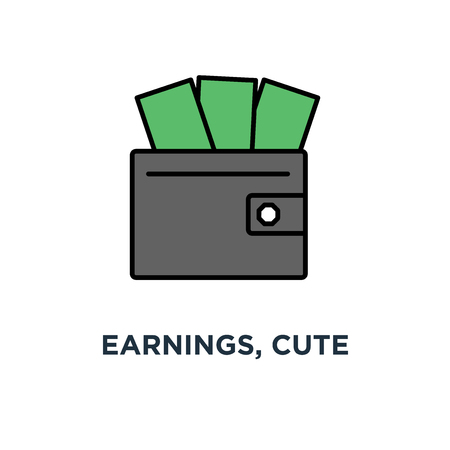 earnings, cute premium quality for website icon, profit or money income, happy wallet with cash, apps, cartoon, mobile websites