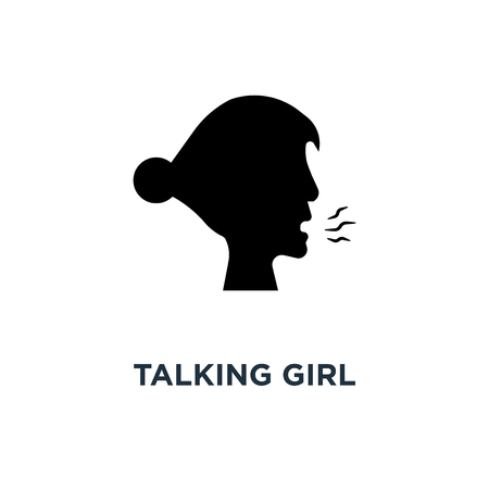 Talking girl icon. Simple element illustration. Talking girl concept symbol design, vector logo illustration. Can be used for web and mobile.