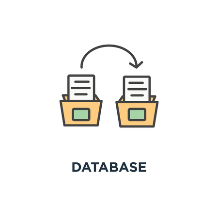 database icon. bankers box from the repository with documents, systematization concept symbol design, depository, archive, file folder with white sheets, paperwork, data information storage vector