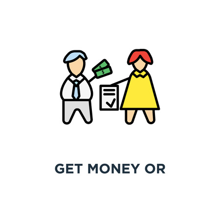get money or investment for contract icon, make a deal, business template,, agreement, business people ( man and woman ) close the deal, process of payment, outline Illustration