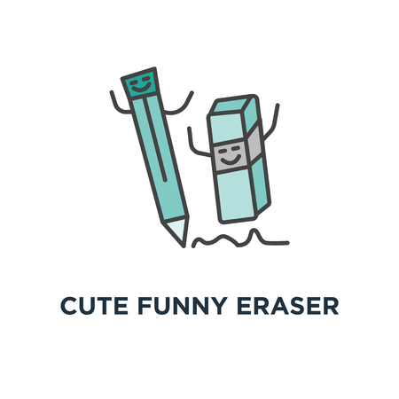 cute funny eraser chasing the pencil, he wants to cuddle, rubber icon. correction concept symbol design, erase mistake correction, remove, deleting tool, outline, vector illustration