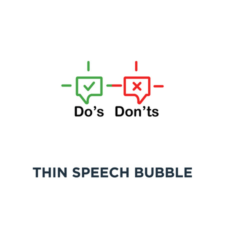 thin speech bubble like dos and donts icon, symbol outline simple trend logotype graphic design on white concept of checklist and reject or accept for evaluation quiz