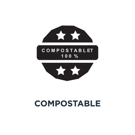 Compostable material 100 icon. Simple element illustration. Compostable material 100 concept symbol design, vector logo illustration. Can be used for web and mobile.