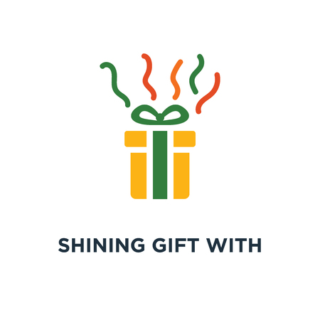 shining gift with stars icon. present box with ribbon concept symbol design, surprising big gift, reward program, special prize vector illustration